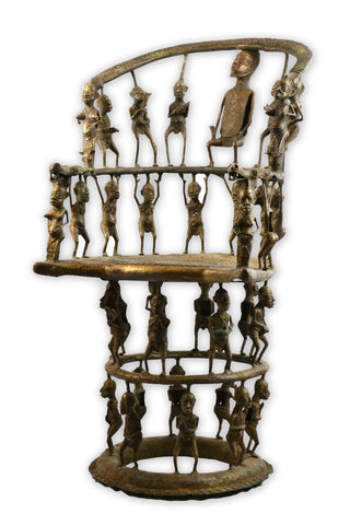 Monumental Bronze Benin Throne Chair