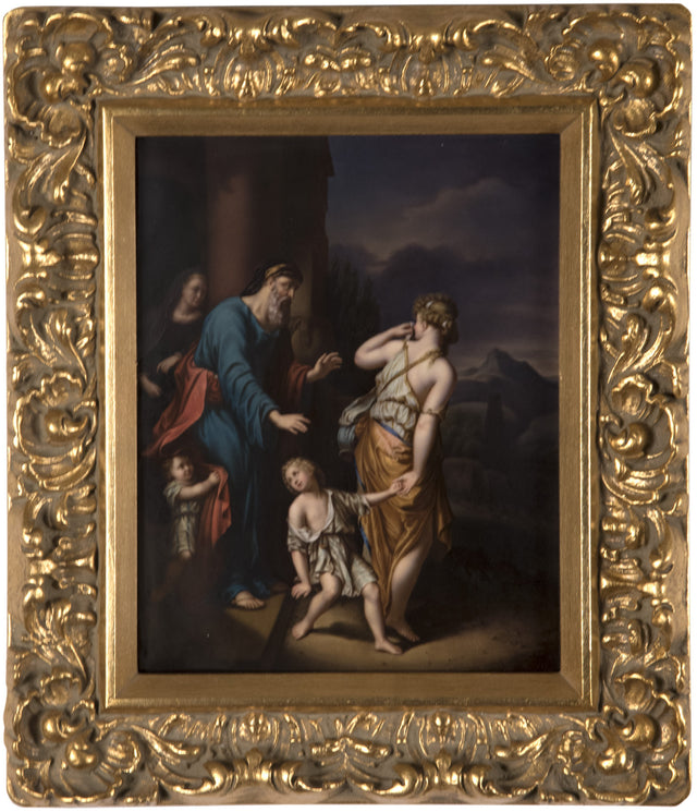 19th Century KPM Porcelain Plaque of Hagar and Ishmael Banished from the House of Abraham