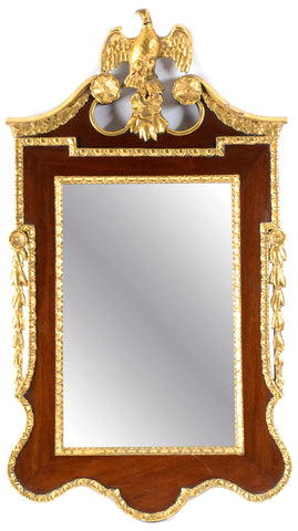 Mahogany and Carved Gilt Wood Mirror