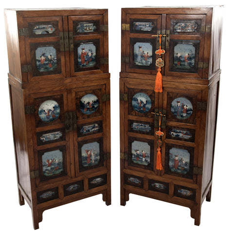 Tall Two Section Chinese Hardwood Cabinet with Painted Panels