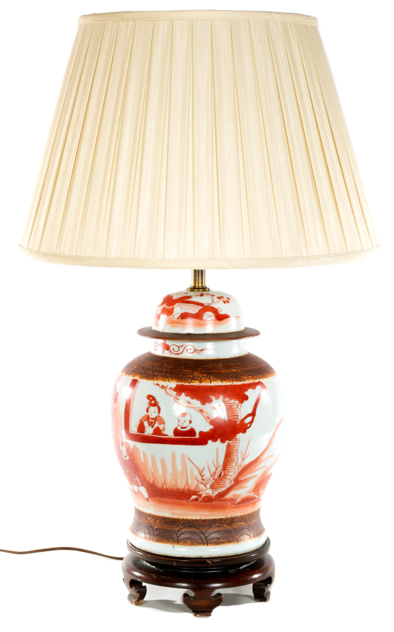 Chinese Red Painted Baluster Vase Lamp
