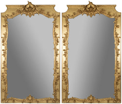 A Pair of Louis XIV-style Carved and Gilt Wall Mirrors