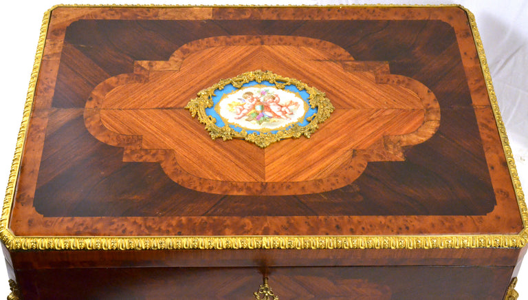 Russian Royal Box in Porcelain, Exotic Woods, and Ormolu