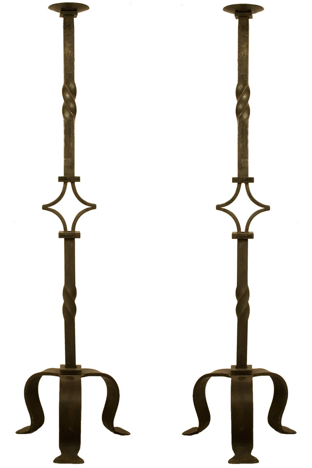 19th Century Pair of Wrought Iron Candlesticks