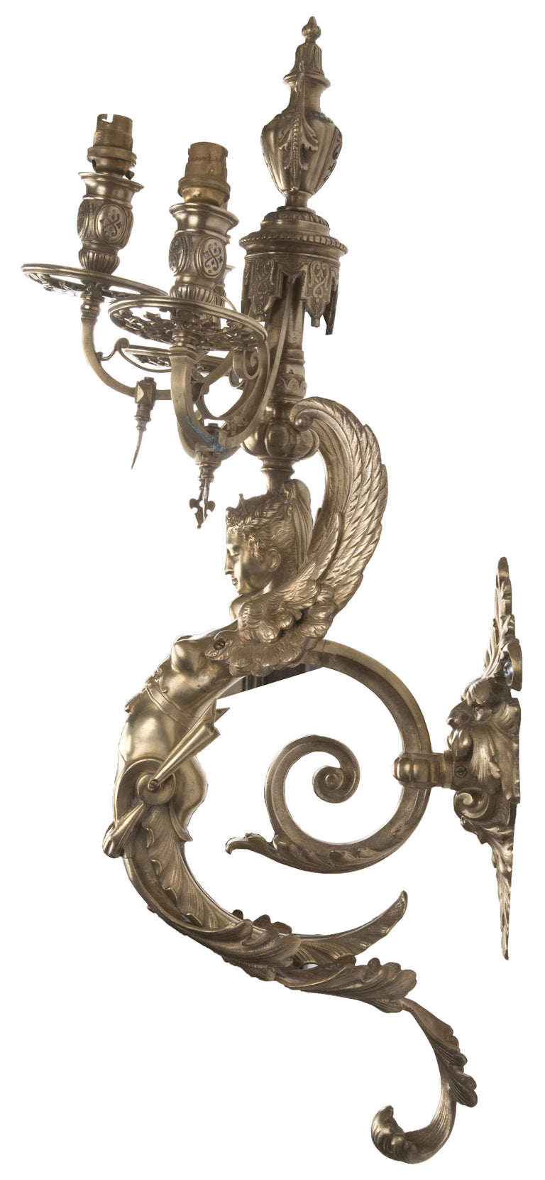 A Pair of Ornate Winged Caryatid Wall Sconces