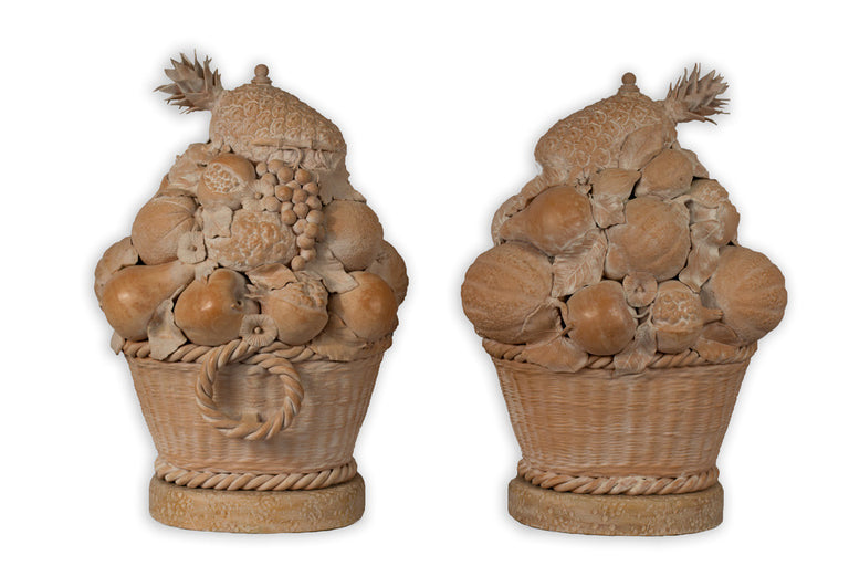 Pair of Sculpted Terracotta Fruit Baskets