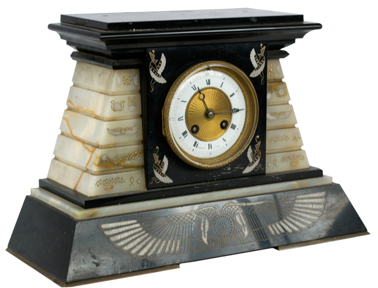 A French Empire Marble and Onyx Mantle Clock