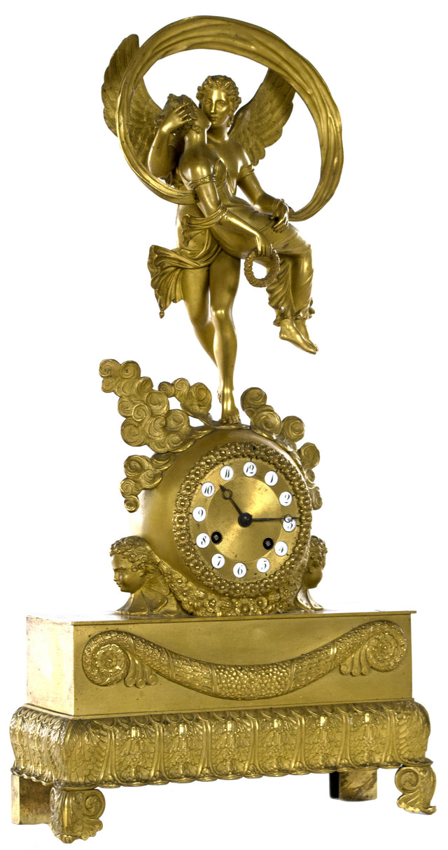 A French Directoire Mantle Clock of Cupid and Psyche