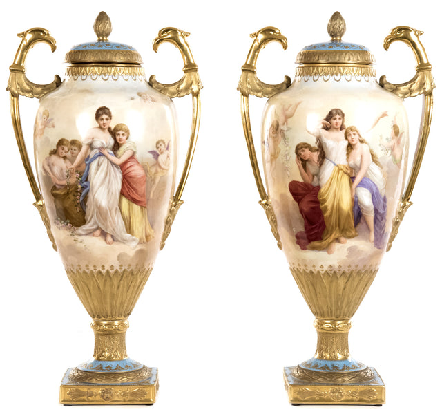 A Pair of Empire Portrait Urns