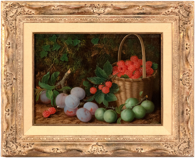 Fruit Still Life with Raspberries and Plums by Oliver Clare