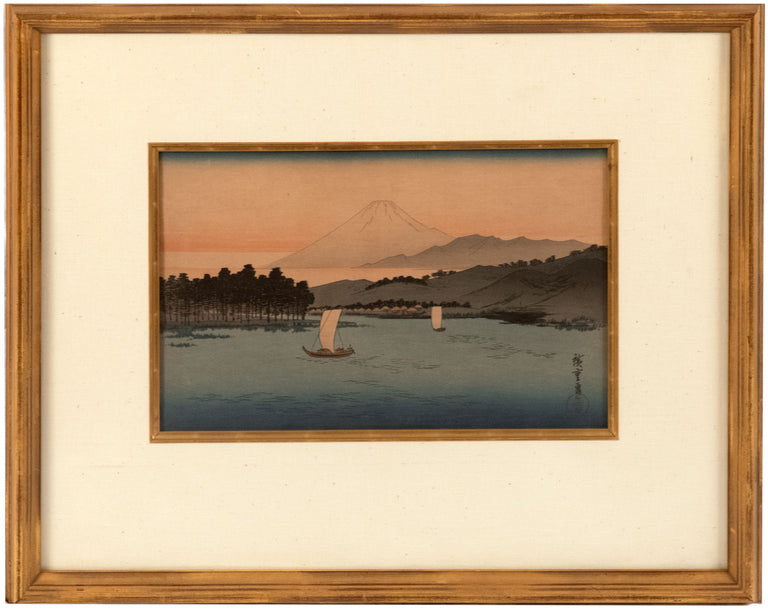 Mount Fuji with Boats Woodblock