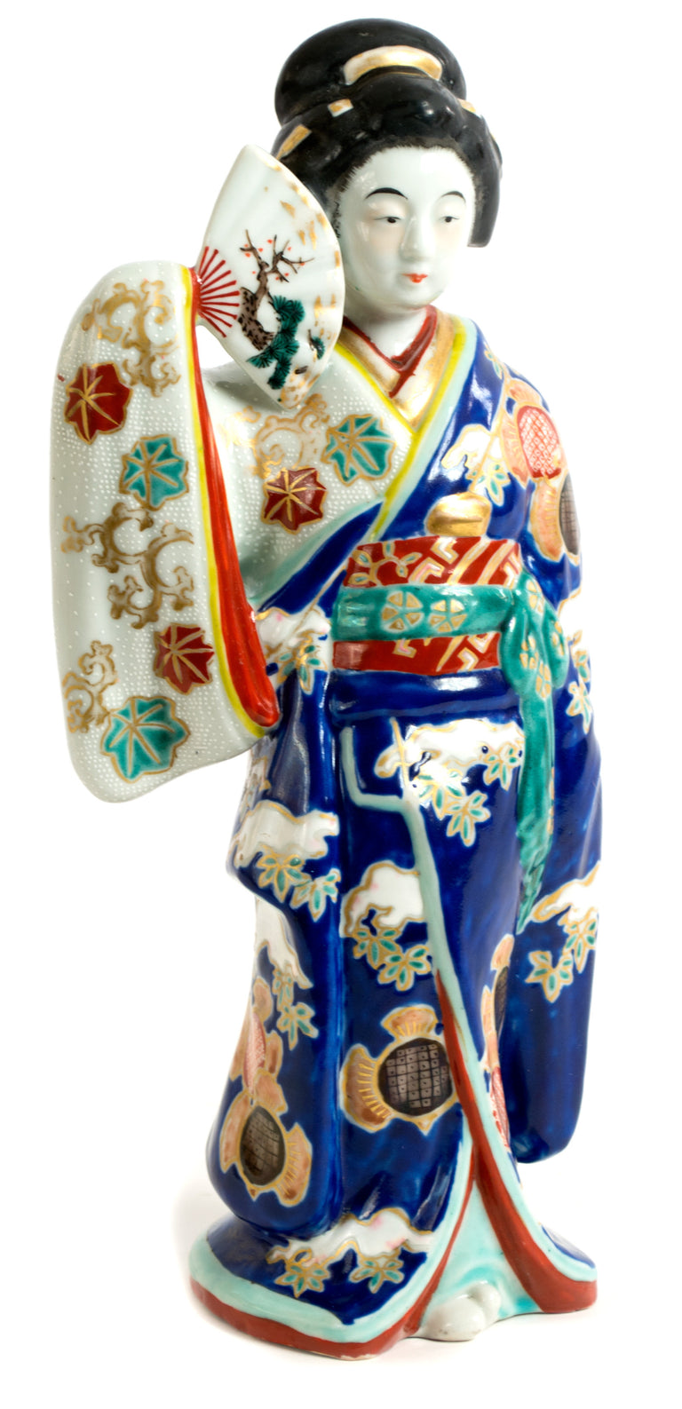 A large Japanese Meiji Porcelain Sculpture of a Geisha