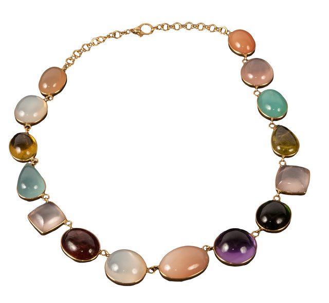 18 Karat Yellow Gold Gem-Set Necklace