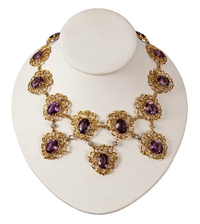 18k Yellow Gold, Amethyst and Diamond Necklace