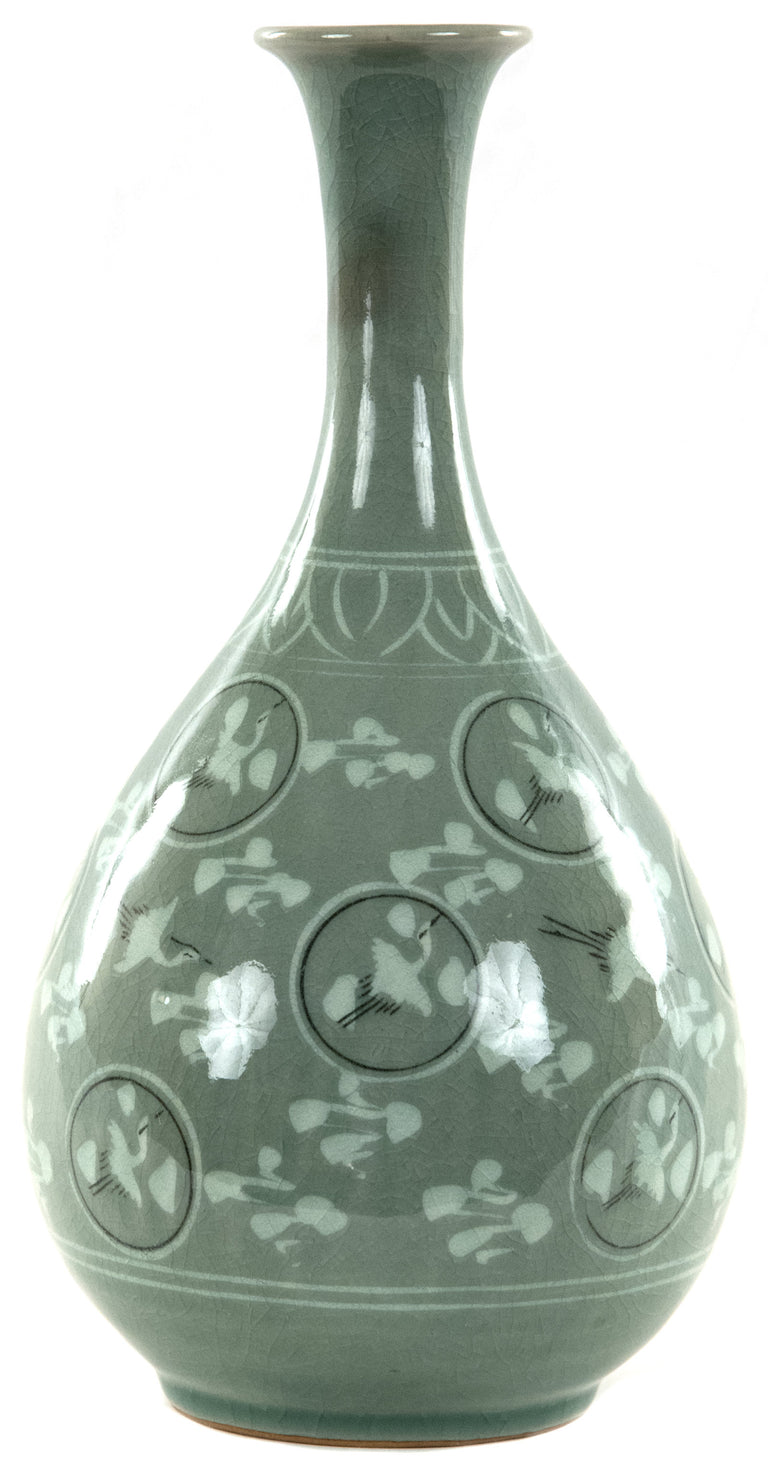 Korean Celadon Vase with Flying Cranes and Cloud Design
