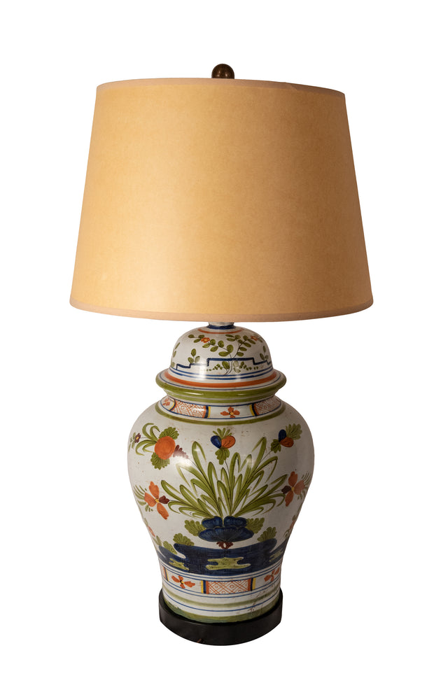 Henriot Quimper-style Faience Ginger Jar Lamp