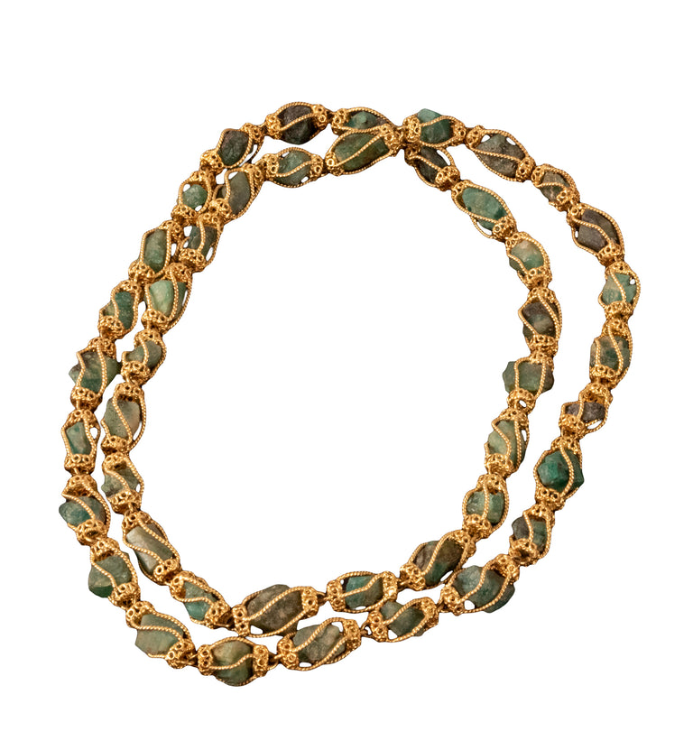 18-Karat Yellow Gold and Emerald Crystal Necklace