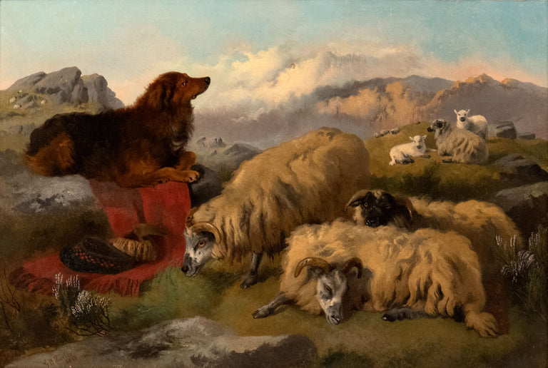 Guarding the Sheep in the Highlands by George W. Horlor R.A. (1849-1895)
