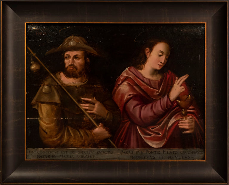 A Pilgrim to Santiago de Compostela with Apostle holding the Grail by Unknown Spanish Painter