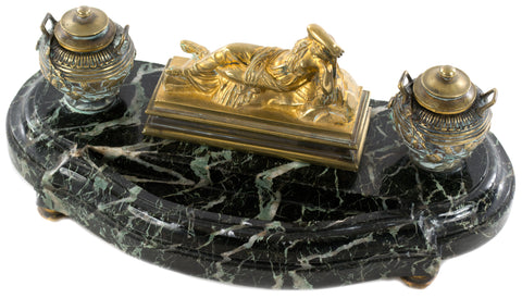 A large bronze and marble inkstand of sleeping Ariadne