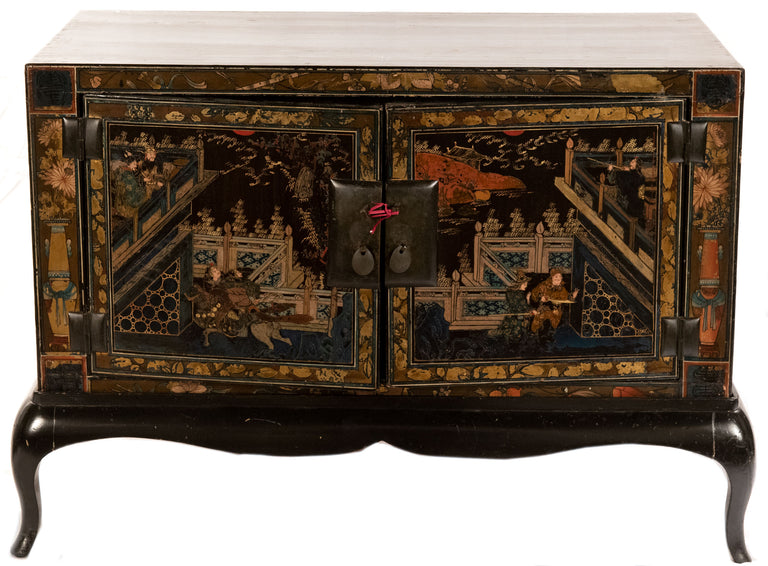 A Pair of Chinese Lacquered Side Table Cabinets