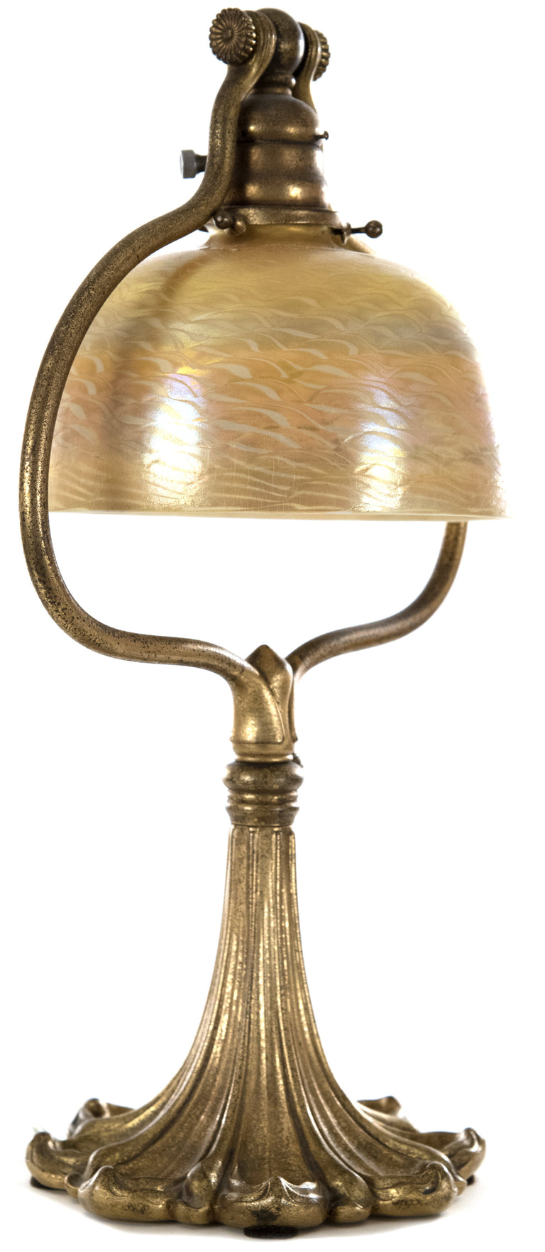 "Tiffany Studios, New York Favrile Glass and Bronze ""Harp"" Table Lamp"