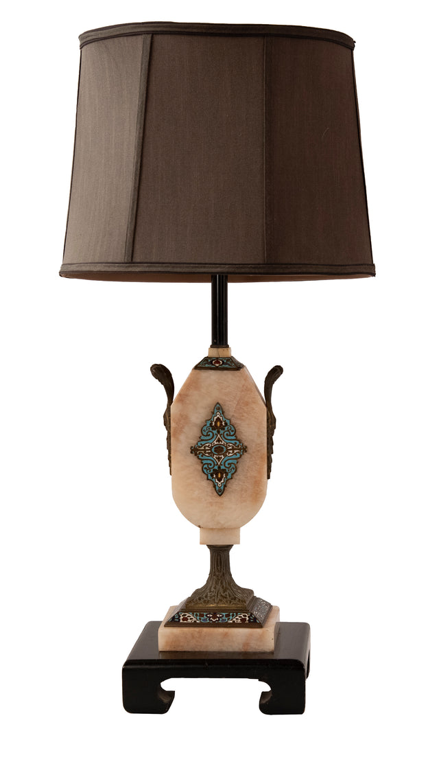Continental Cloisonne and stone lamp