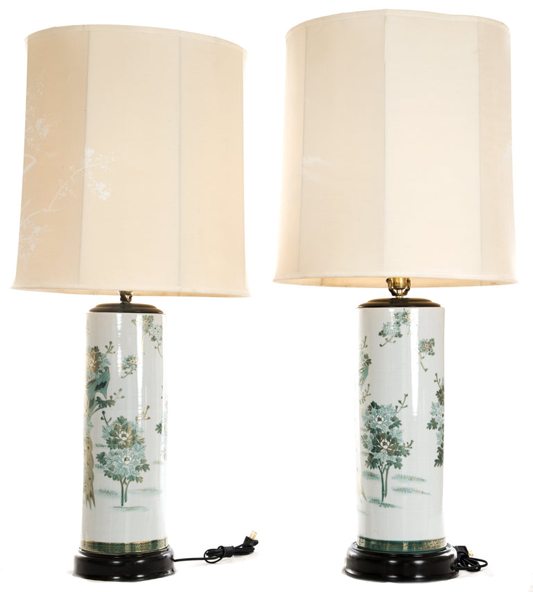 Pair of Japanese Kutani Porcelain Table Lamps with Hand-Painted Natural Imagery