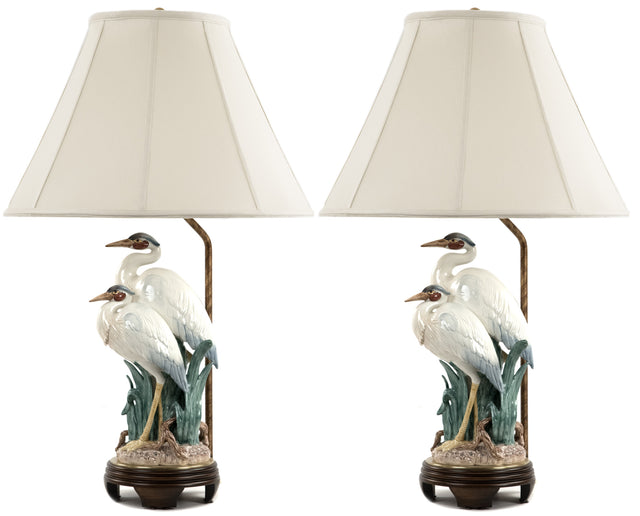 A Pair of Frederick Cooper Crane Table Lamps
