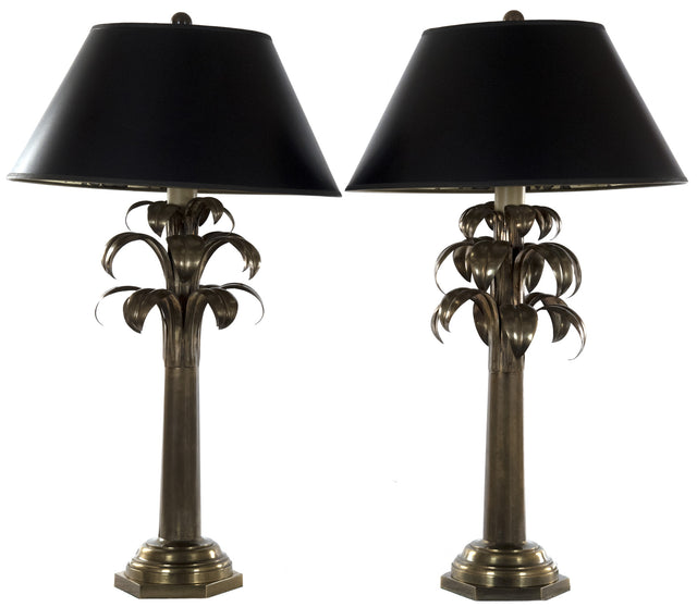 A Pair of Brass Table Lamps with Foliage Motif