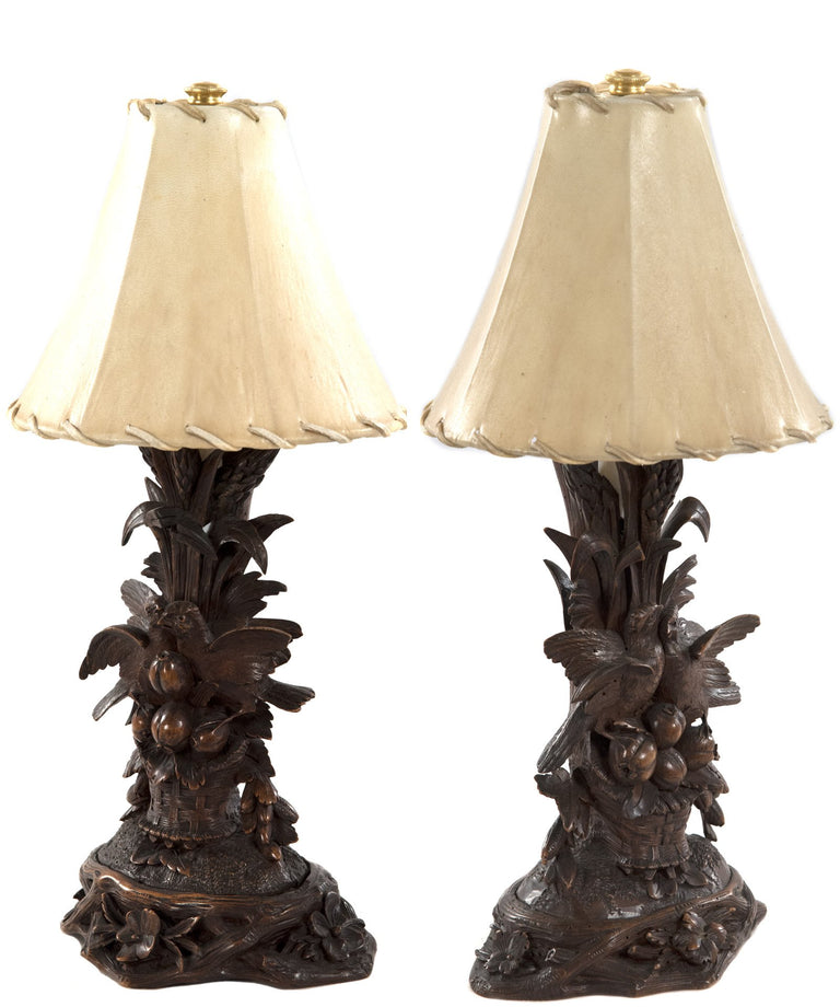 Pair of 19th Century Black Forest Carved Wood Bird Table Lamps