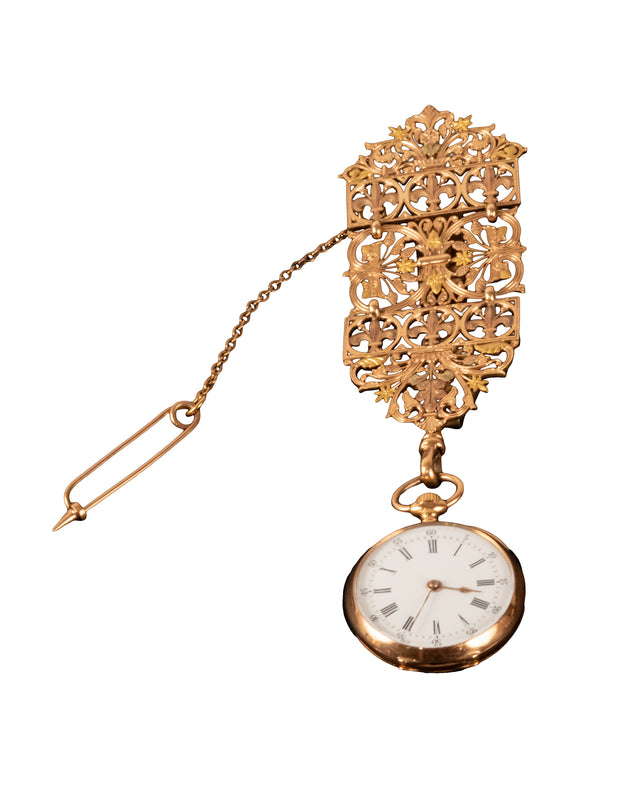 19th Century French 14-Karat Yellow Gold Lapel Watch