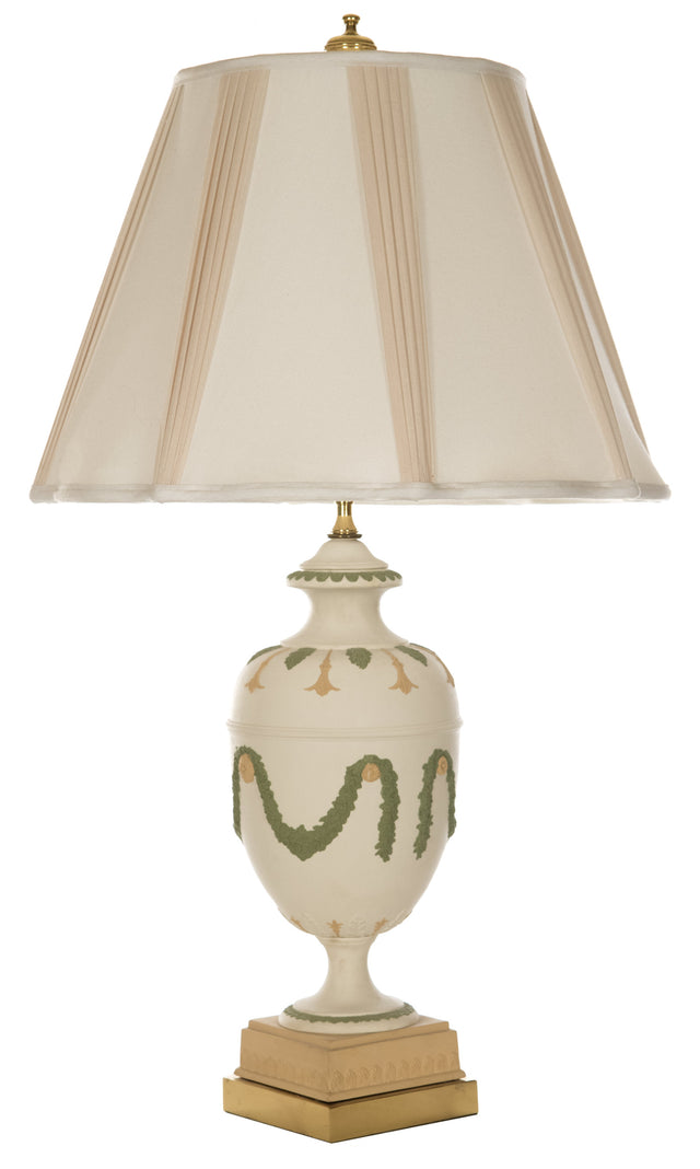 Neoclassical-style Ceramic Table Lamp with Garlands