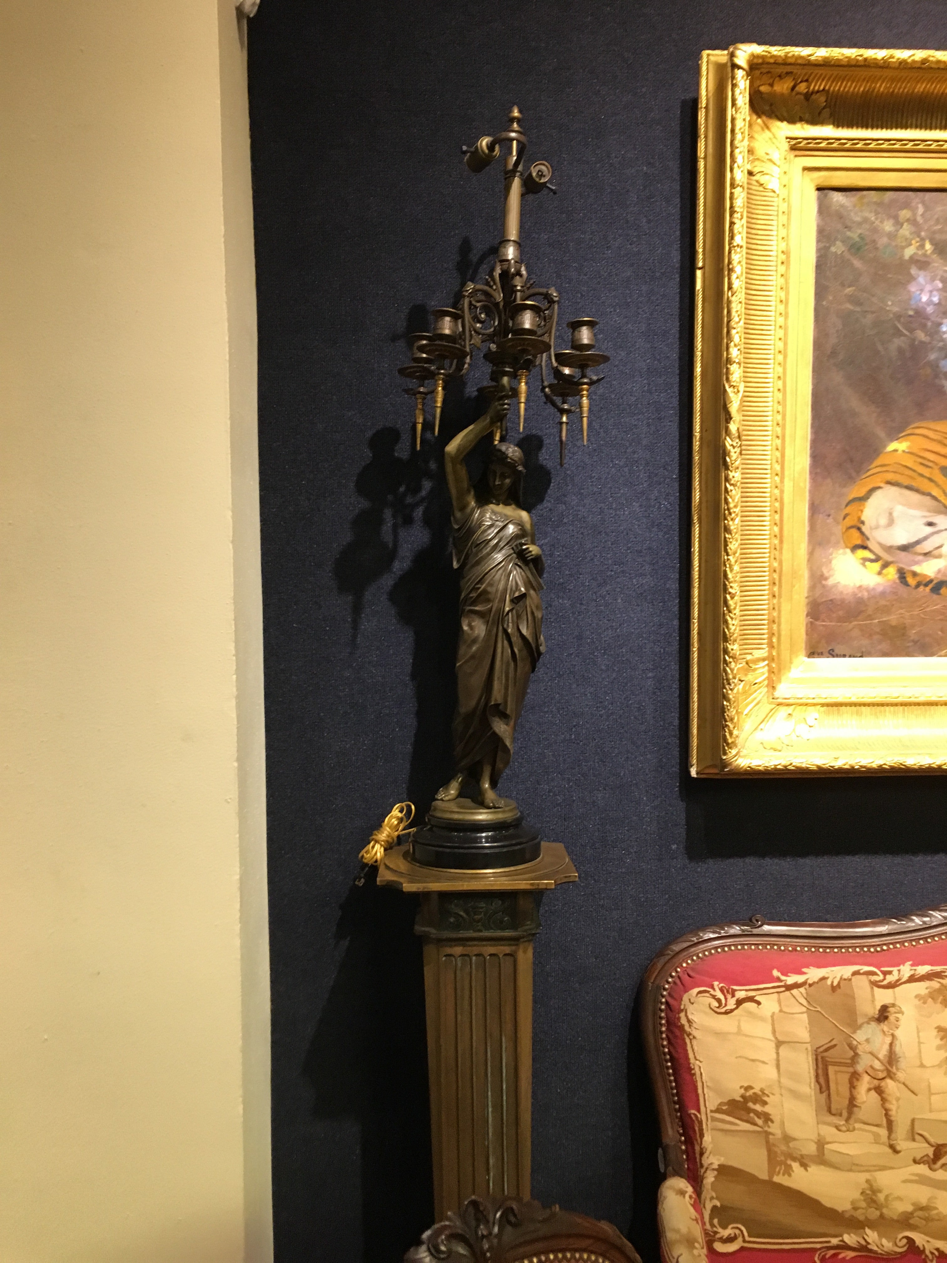 A Pair of Monumental Bronze Candelabra Sculptures on Stands by  mile Picault