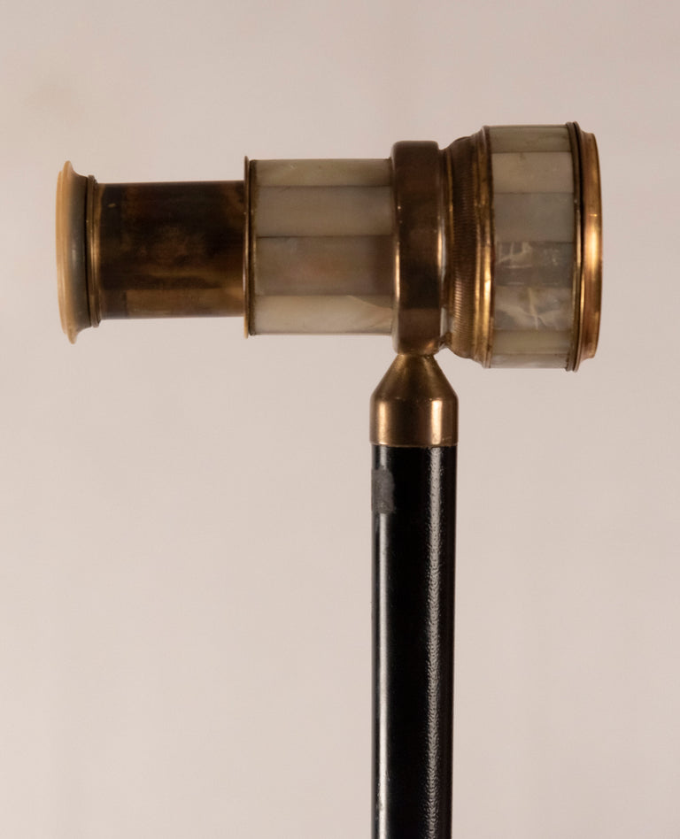 A Gilt Mother of Pearl and Ebony Walking Stick with Spy Glass (c. 1910)
