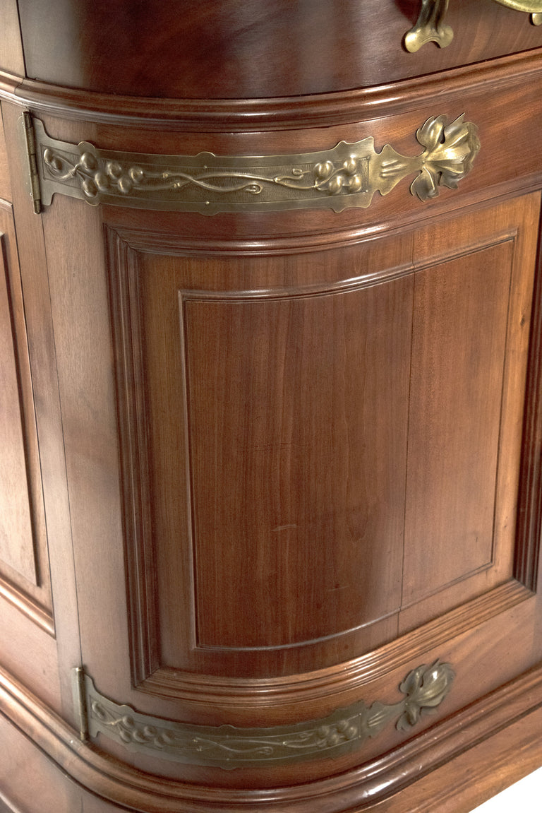 French Art Nouveau Mahogany Sideboard after Louis Majorelle