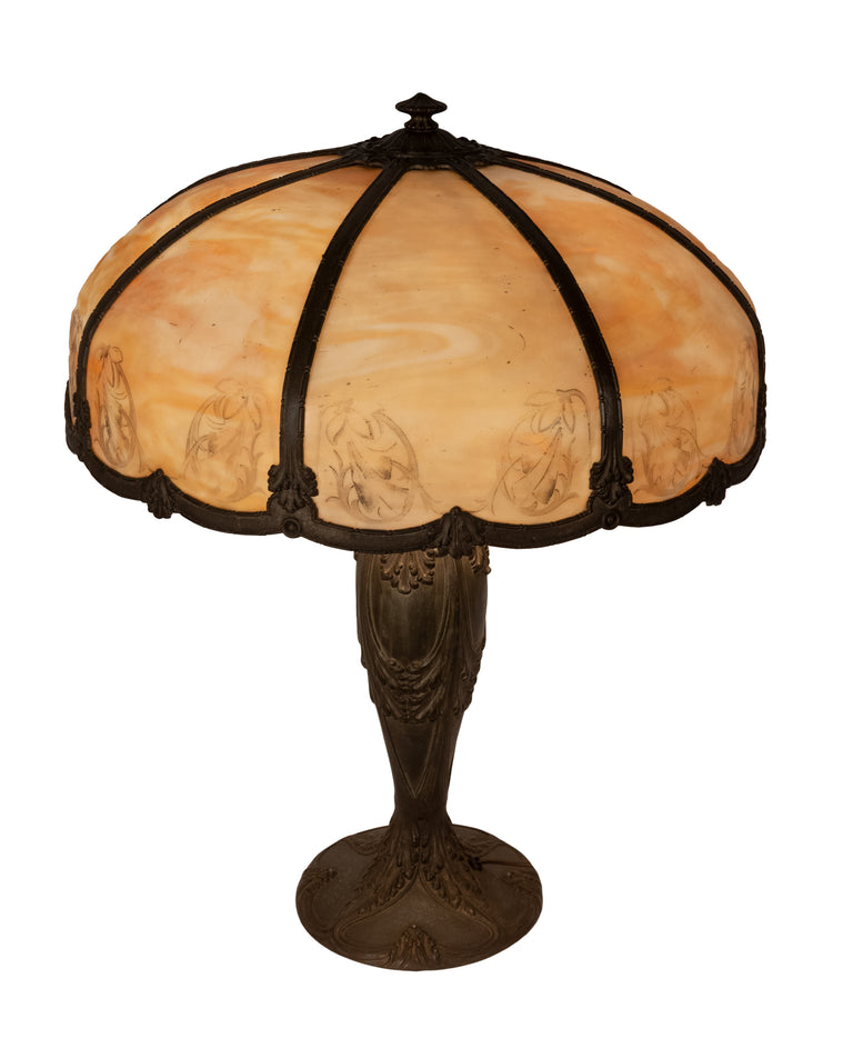Art Nouveau American slag glass lamp with etched shade (c. 1900)
