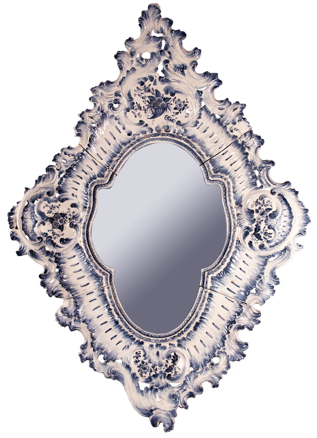Delft Porcelain Rococo-style Mirror with Metal Mirror Plate
