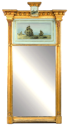 A Period Neoclassical English verre églomisé mirror