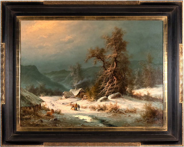 Winter Landscape with Cottage by Ludwig Munninger