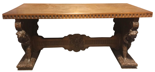 Italian Renaissance Revival carved walnut table (c. 1870)