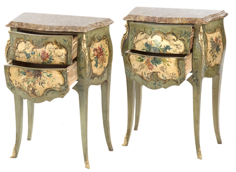 French Louis XVI Style Painted and Marble-topped Night Stands