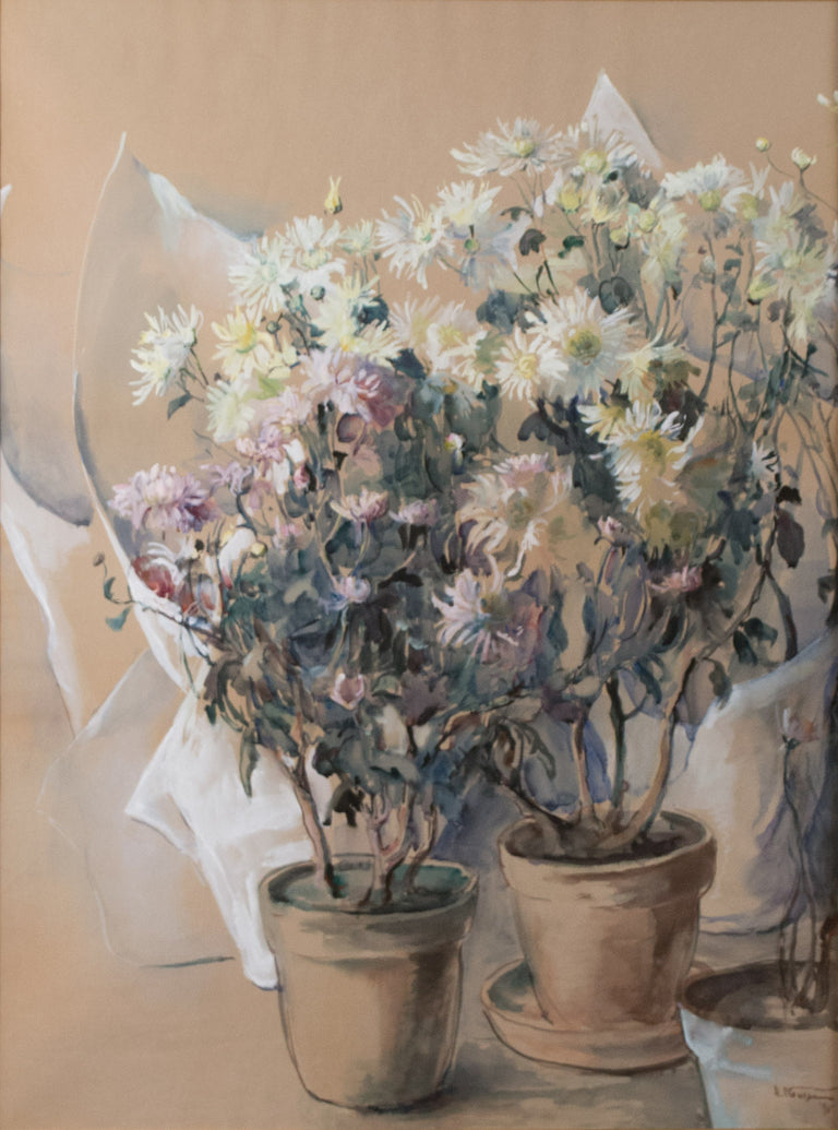 White and Pink Asters (1895) by Elizabeth Nourse