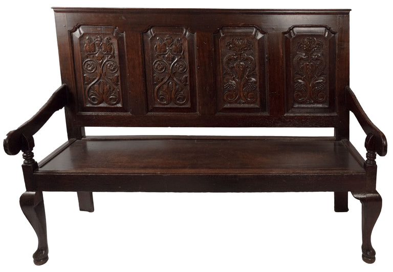 Eighteenth-century English Carved Oak Bench