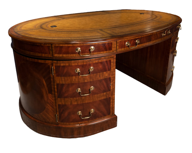 Maitland Smith Sheraton-style Oval Executive Partners Desk