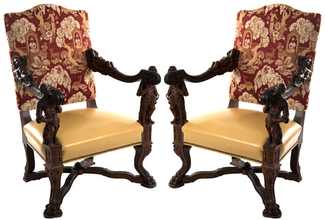 Italian Baroque-style Walnut Carved Armchairs after Andrea Brustolon (1662–1732)