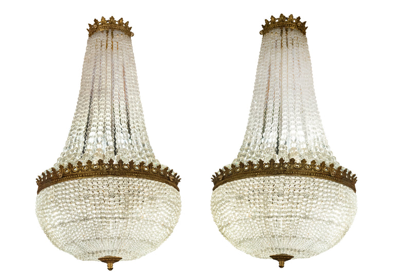 Pair of Empire-style Basket-form Chandeliers