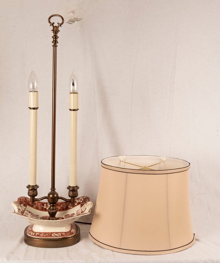 A Pair of English Porcelain Dish Candelabra Lamps