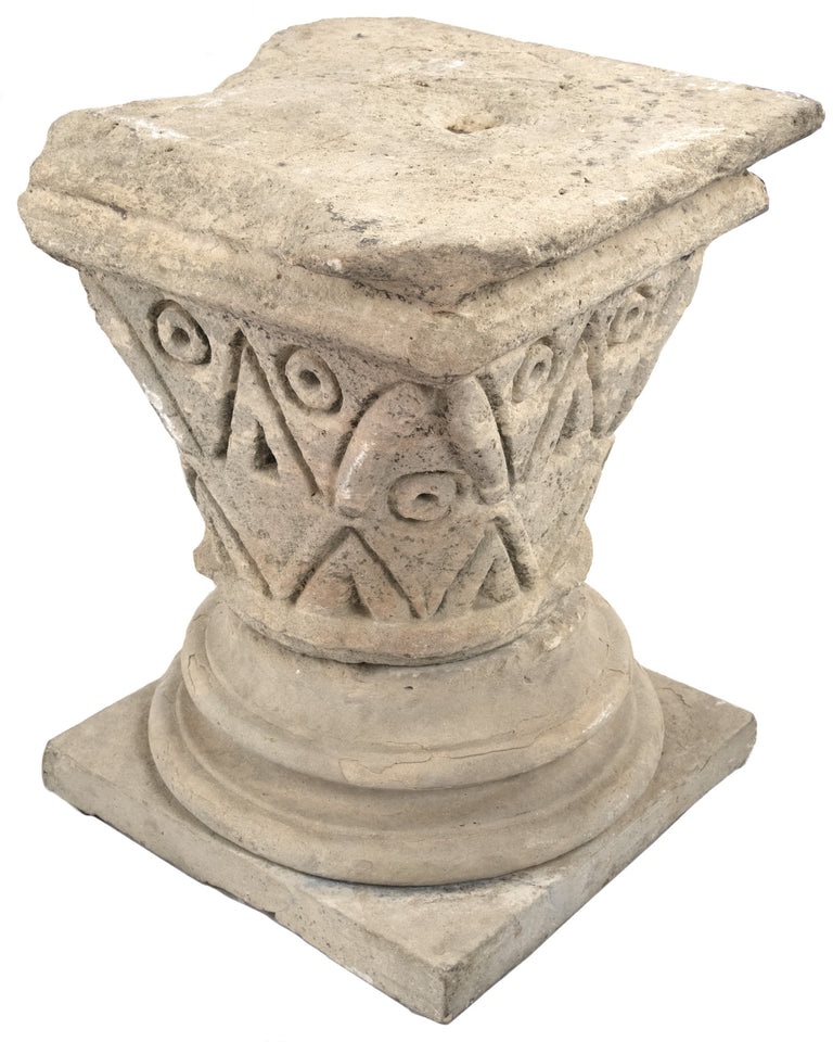 Carved Stone Romanesque Pedestal