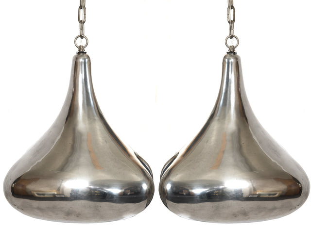 Art Nouveau-style Chrome Tear Drop Pendant Lights